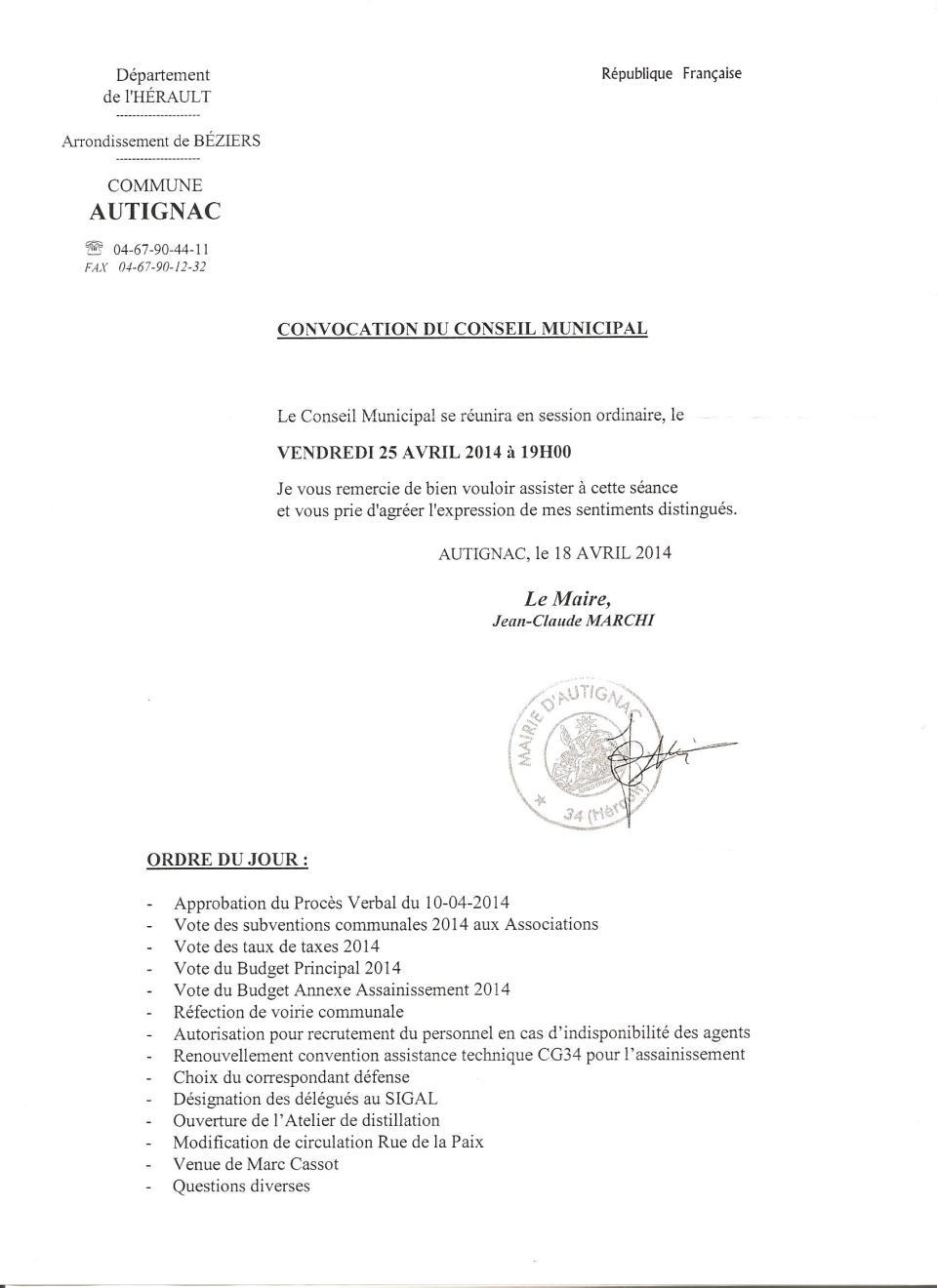 convocation conseil25 04 2014